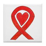 Red Awareness Ribbon Heart Tile Coaster
