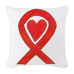 Red Awareness Ribbon Heart Woven Throw Pillow