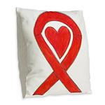 Red Awareness Ribbon Heart Burlap Throw Pillow