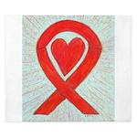 Red Awareness Ribbon Heart King Duvet