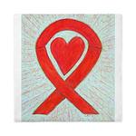 Red Awareness Ribbon Heart Queen Duvet