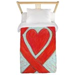 Red Awareness Ribbon Heart Twin Duvet