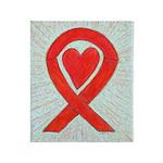 Red Awareness Ribbon Heart Throw Blanket