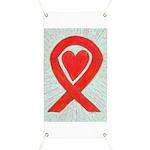 Red Awareness Ribbon Heart Banner