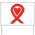 Red Awareness Ribbon Heart Yard Sign