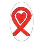 Red Awareness Ribbon Heart Sticker