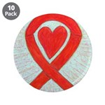 Red Awareness Ribbon Heart 3.5