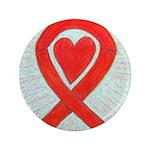 Red Awareness Ribbon Heart Button