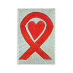 Red Awareness Ribbon Heart Art Magnets -100 Pack