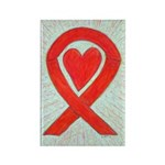 Red Awareness Ribbon Heart Art Magnet -10 Magnets