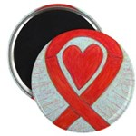Red Awareness Ribbon Heart Magnets