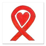 """Red Awareness Ribbon Square Car Magnet 3"""" X 3"""