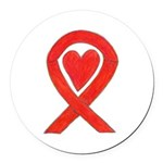 Red Awareness Ribbon Heart Round Car Magnet