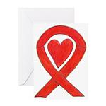 Red Awareness Ribbon Heart Art Card Greeting Cards
