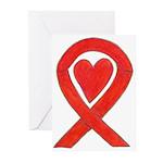 Red Awareness Ribbon Heart Greeting Cards -10 Pk