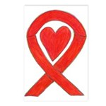 Red Awareness Ribbon Heart Postcards (Package of 8