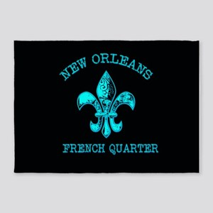 Neon Tuquoise NOLA French Quarter 5'x7'Area Rug