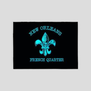 Neon Tuquoise NOLA French Quarter 5'x7'Area Rug