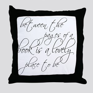 Lovely Book Reader Throw Pillow