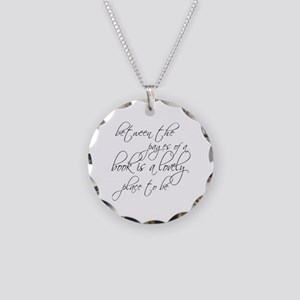 Lovely Book Reader Necklace Circle Charm