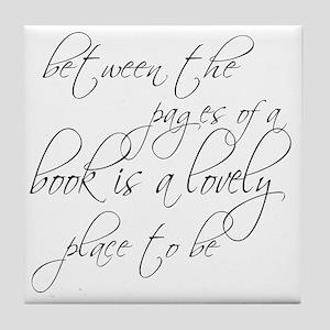 Lovely Book Reader Tile Coaster