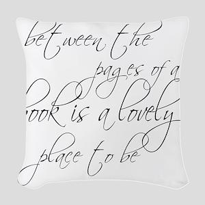 Lovely Book Reader Woven Throw Pillow