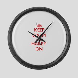 Keep Calm and Hailey ON Large Wall Clock