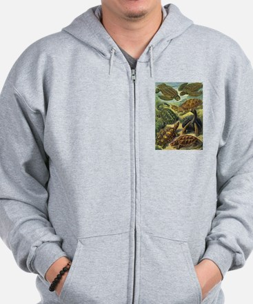 Vintage Turtles and Tortoises Zip Hoodie