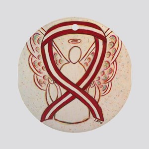 Burgundy and Ivory Awareness Ribbon Ornament (Roun