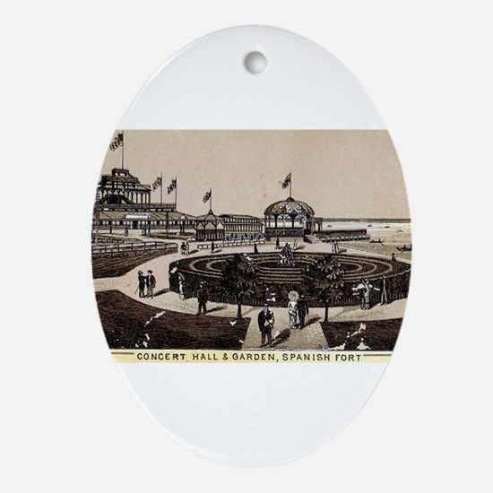 1870s Spanish Fort Concert Hall Oval Ornament