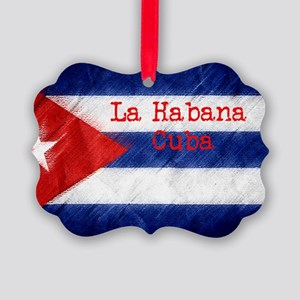 La Habana Cuba Flag Picture Ornament