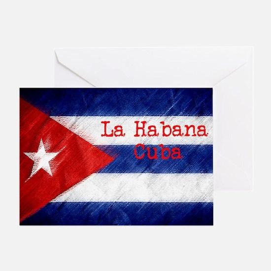 La Habana Cuba Flag Greeting Card