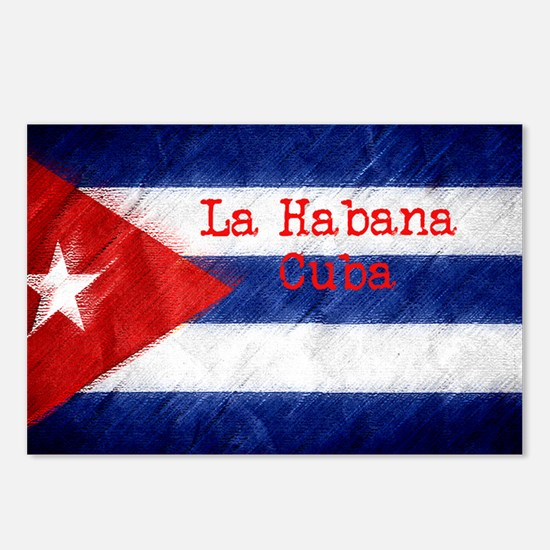 La Habana Cuba Flag Postcards (Package of 8)