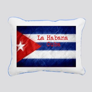 La Habana Cuba Flag Rectangular Canvas Pillow