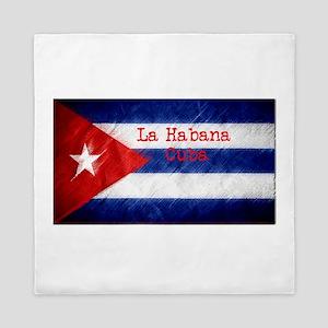 La Habana Cuba Flag Queen Duvet