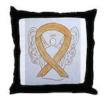Amber Ribbon Angel Throw Pillow