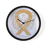 Amber Ribbon Angel Wall Clock