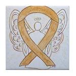 Amber Ribbon Angel Tile Coaster