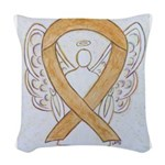 Amber Ribbon Angel Woven Throw Pillow