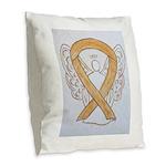 Amber Ribbon Angel Burlap Throw Pillow