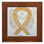 Amber Ribbon Angel Framed Tile