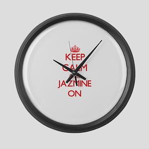 Keep Calm and Jazmine ON Large Wall Clock