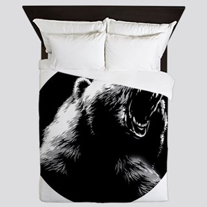 Menacing Grizzly Bear Queen Duvet