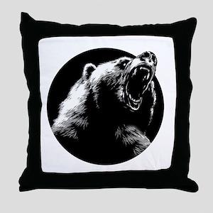 Menacing Grizzly Bear Throw Pillow