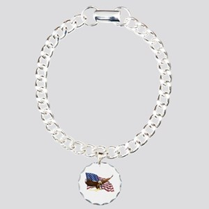 American Flag and Eagle Charm Bracelet, One Charm