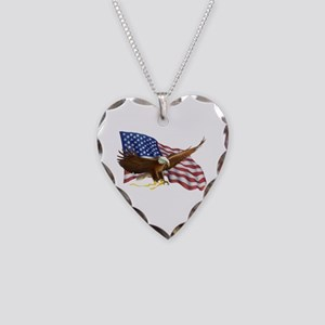 American Flag and Eagle Necklace Heart Charm