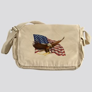 American Flag and Eagle Messenger Bag