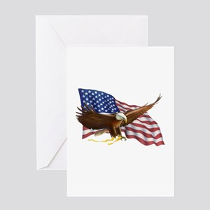 American Flag and Eagle Greeting Cards