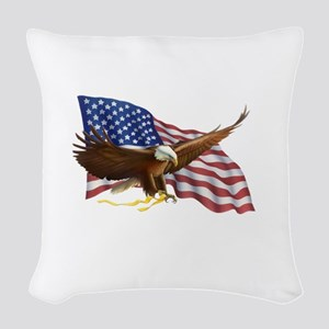American Flag and Eagle Woven Throw Pillow