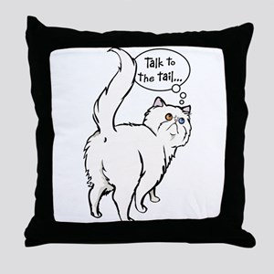 White Persian Tail Talk Throw Pillow